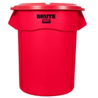 Rubbermaid BRUTE 55 Gallon Red Trash Can and Lid