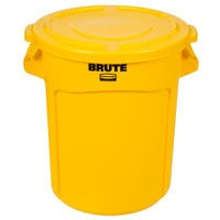 Rubbermaid BRUTE 20 Gallon Yellow Trash Can and Lid
