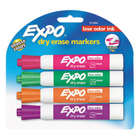 Expo 81044 Assorted 4-Color Low-Odor Chisel Tip Dry Erase Marker - 4/Set