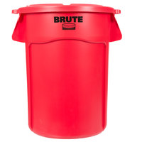 Rubbermaid BRUTE 44 Gallon Red Trash Can and Lid