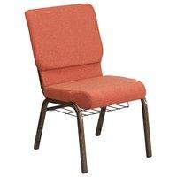 Flash Furniture FD-CH02185-GV-CIN-BAS-GG Hercules Series Cinnamon 18 1/2 inch Church Chair with Book Rack and Gold Vein Frame