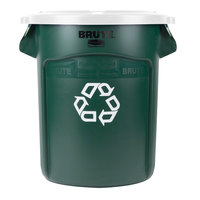 Rubbermaid BRUTE 20 Gallon Dark Green Recycling Can and White Lid