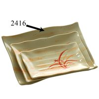 Thunder Group 2416 Gold Orchid 15 1/2 inch x 10 3/4 inch Rectangular Melamine Wave Plate - 12/Pack