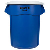 Rubbermaid BRUTE 55 Gallon Blue Recycle / Trash Can and White Lid