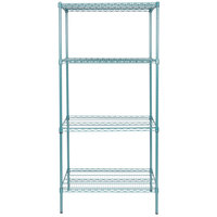 Regency 24 inch x 36 inch NSF Green Epoxy Shelf Kit with 74 inch Posts