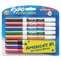 Expo 86601 Assorted 8-Color Low-Odor Fine Tip Dry Erase Marker - 8/Set