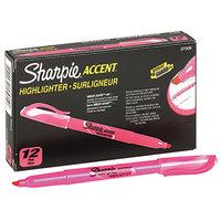 Sharpie 27009 Accent Fluorescent Pink Chisel Tip Pocket Style Highlighter - 12/Pack