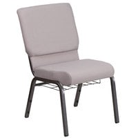 Flash Furniture FD-CH02185-SV-GYDOT-BAS-GG Hercules Series Gray Dot 18 1/2 inch Church Chair with Book Rack and Silver Vein Frame