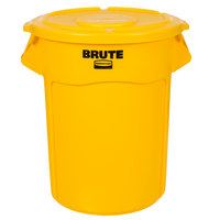 Rubbermaid BRUTE 55 Gallon Yellow Trash Can and Lid