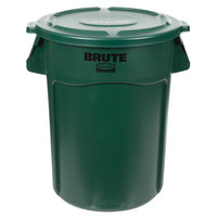 Rubbermaid BRUTE 44 Gallon Green Trash Can and Lid
