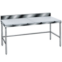 Advance Tabco TSPS-307 Poly Top Work Table 30 inch x 84 inch with 6 inch Backsplash - Open Base