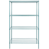 Regency 24 inch x 48 inch NSF Green Epoxy Shelf Kit with 74 inch Posts