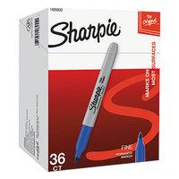 Sharpie 1920932 Blue Fine Point Permanent Marker - 36/Pack