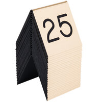 Cal-Mil 269A-11 Gold Engraved Number Tent Sign Set 1-25 - 3 inch x 3 inch