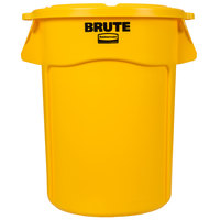 Rubbermaid BRUTE 44 Gallon Yellow Trash Can and Lid