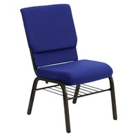 Flash Furniture XU-CH-60096-NVY-BAS-GG Hercules Series Navy 18 1/2 inch Church Chair with Book Rack and Gold Vein Frame