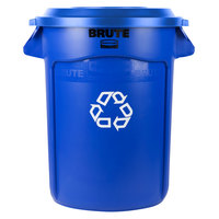 Rubbermaid BRUTE 32 Gallon Blue Recycling Can and Recycling Lid with Hole