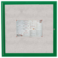 Aarco ODCC3636RG 36 inch x 36 inch Enclosed Hinged Locking 1 Door Powder Coated Green Outdoor Bulletin Board Cabinet