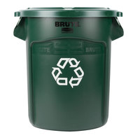 Rubbermaid BRUTE 20 Gallon Dark Green Recycling Can and Green Lid
