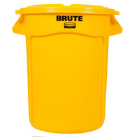 Rubbermaid BRUTE 32 Gallon Yellow Trash Can and Lid