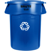 Rubbermaid BRUTE 44 Gallon Blue Recycling Can and Lid