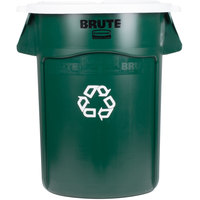 Rubbermaid BRUTE 44 Gallon Dark Green Recycling Can and White Lid