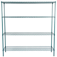 Regency 18 inch x 72 inch NSF Green Epoxy Shelf Kit with 74 inch Posts