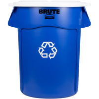 Rubbermaid BRUTE 44 Gallon Blue Recycling Can and White Lid