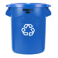 Rubbermaid BRUTE 20 Gallon Blue Recycling Can and Blue Lid