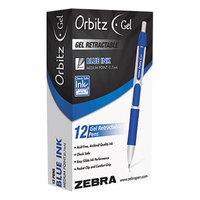 Zebra 41020 Orbitz Blue Ink with Gray / Blue Barrel 0.7mm Retractable Gel Pen - 12/Pack