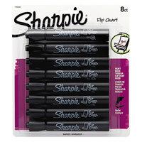 Sharpie 1760445 Black Bullet Tip Flip Chart Marker - 8/Pack