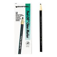 Sharpie 2089 Peel-Off Black China Marker   - 12/Pack