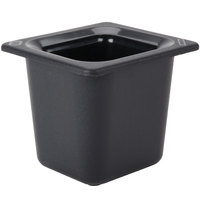 Carlisle CM110403 Coldmaster 1/6 Size Black Cold ABS Plastic Food Pan - 6 inch Deep