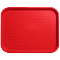 Carlisle CT141805 Cafe 14 inch x 18 inch Red Standard Plastic Fast Food Tray