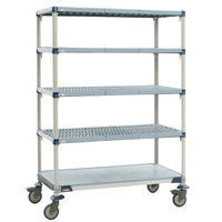Metro 5X567EGX3 MetroMax i Polymer Grid Cart with Solid Bottom Shelf - 24 inch x 60 inch