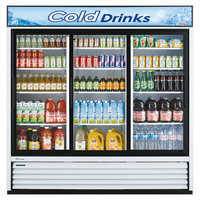 Turbo Air TGM-69R 78 inch White Three Section Sliding Glass Door Merchandising Refrigerator