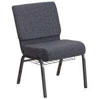 Flash Furniture FD-CH0221-4-SV-DKGY-BAS-GG Hercules Series Dark Gray 21 inch Church Chair with Book Rack and Silver Vein Frame