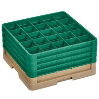 Vollrath CR10FFFF-32819 Traex® 9 Compartment Beige Full-Size Closed Wall 9 7/16 inch Glass Rack with 4 Green Extenders