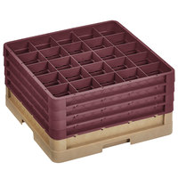 Vollrath CR10FFFF-32821 Traex® 9 Compartment Beige Full-Size Closed Wall 9 7/16 inch Glass Rack with 4 Burgundy Extenders