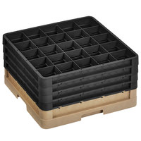 Vollrath CR10FFFF-32806 Traex® 9 Compartment Beige Full-Size Closed Wall 9 7/16 inch Glass Rack with 4 Black Extenders