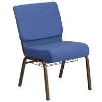 Flash Furniture FD-CH0221-4-GV-BLUE-BAS-GG Hercules Series Blue 21 inch Church Chair with Book Rack and Gold Vein Frame