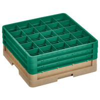 Vollrath CR10FFF-32819 Traex® 9 Compartment Beige Full-Size Closed Wall 7 7/8 inch Glass Rack with 3 Green Extenders