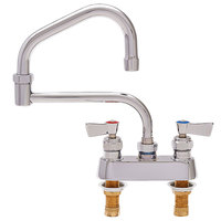 Fisher 47848 Deck Mounted Faucet with 4 inch Centers, 19 inch Double-Jointed Swing Nozzle, 2.2 GPM Aerator, and Lever Handles