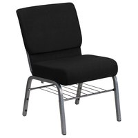 Flash Furniture XU-CH0221-BK-SV-BAS-GG Hercules Series Black 21 inch Church Chair with Book Rack and Silver Vein Frame