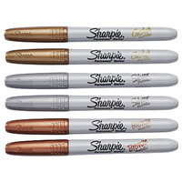 Sharpie 1829201 Metallic Assorted 6-Color Bullet Tip Permanent Marker Set