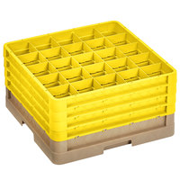 Vollrath CR10FFFF-32808 Traex® 9 Compartment Beige Full-Size Closed Wall 9 7/16 inch Glass Rack with 4 Yellow Extenders