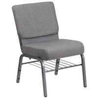 Flash Furniture XU-CH0221-GY-SV-BAS-GG Hercules Series Gray 21 inch Church Chair with Book Rack and Silver Vein Frame