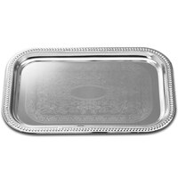 18 inch x 12 inch Rectangular Embossed Chrome Plated Metal Catering Tray