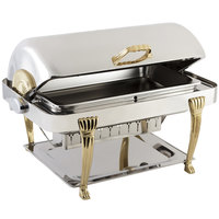 Bon Chef 12040 Elite Rectangle 8 Qt. Dripless Stainless Steel with Brass Accents Roll Top Chafer with Aurora Legs