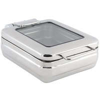 Bon Chef 20308 4 Qt. Stainless Steel Hinged Top Half Size Induction Chafer with Glass Window